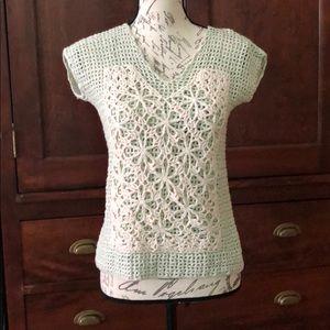 Anthropologie crochet cotton top xs